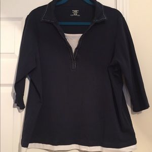 Dress Barn Navy & Cream Nautical 3/4 Sleeve Tunic